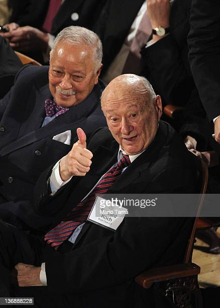 Former New York Mayors Ed Koch and David Dinkins look on before New York Mayor Michael Bloomberg delivers his annual State of the City address at...
