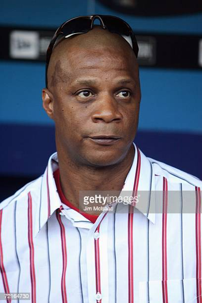 Former New York Mets player Darryl Strawberry looks on prior to game one of the NLCS between the St Louis Cardinals and the New York Mets at Shea...