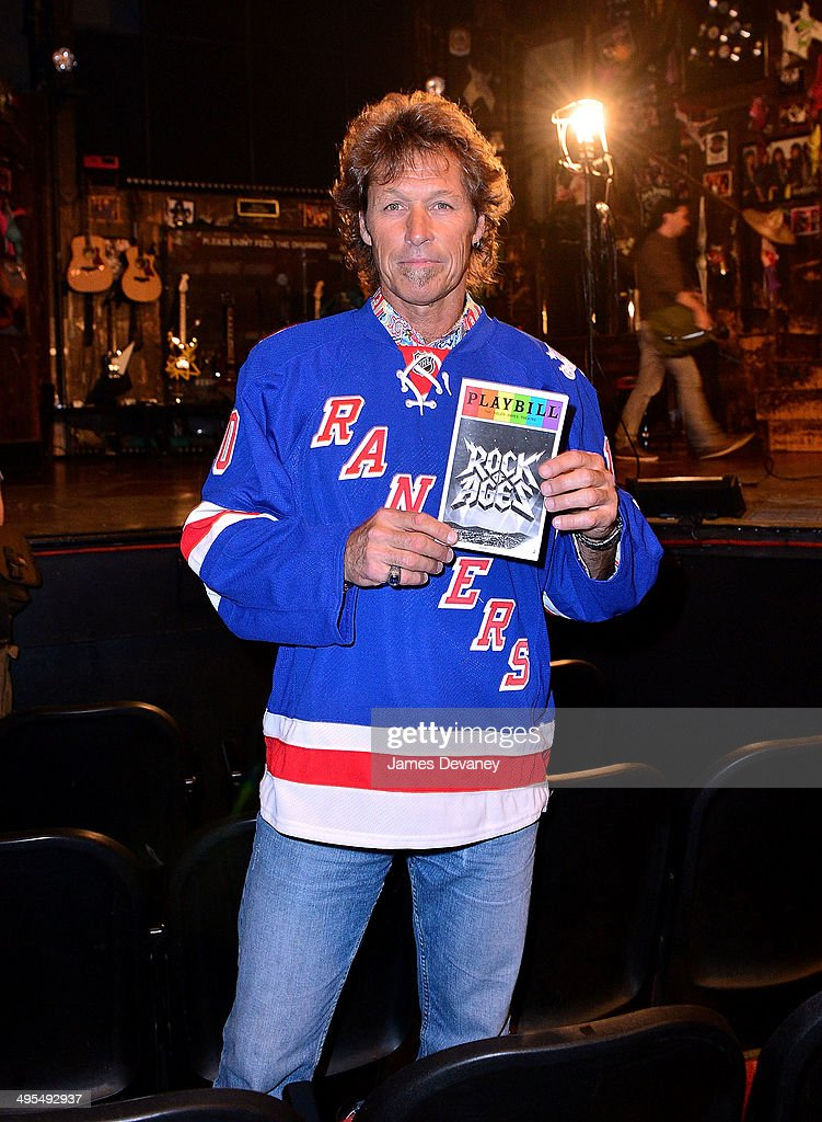 Former New York Rangers hockey player Ron Duguay makes cameo performance in 'Rock Of Rangers' Opening Night at Helen Hayes Theatre on June 3 2014 in...