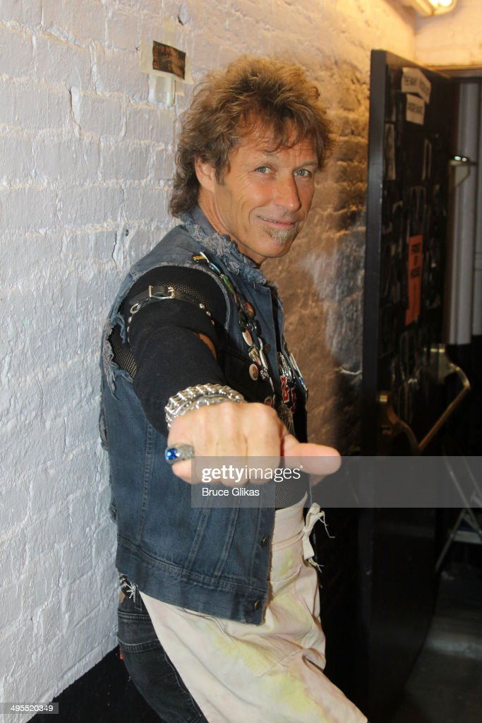 Former New York Rangers hockey player <a gi-track='captionPersonalityLinkClicked' href=/galleries/search?phrase=Ron+Duguay&family=editorial&specificpeople=598468 ng-click='$event.stopPropagation()'>Ron Duguay</a> makes his broadway debut and poses backstage at the hit musical 'Rock of Ages' on Broadway at The Helen Hayes Theater on June 3, 2014 in New York City.