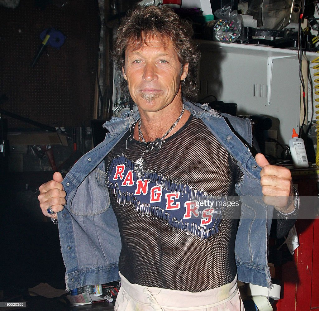 Former New York Rangers hockey player Ron Duguay makes his broadway debut and poses backstage at the hit musical 'Rock of Ages' on Broadway at The Helen Hayes Theater on June 3, 2014 in New York City.