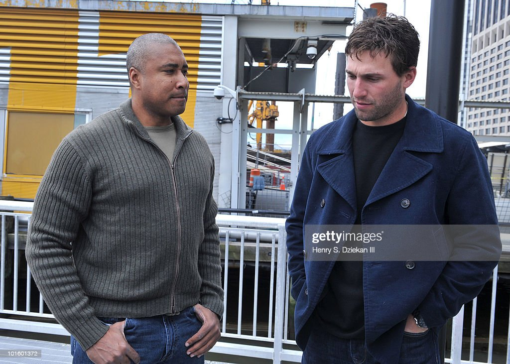Former New York Yankee Bernie Williams and New York Met Jeff Francoeur attend the christening of Delta's Baseball Water Taxis at Pier 11 on April 27, 2010 in New York City.