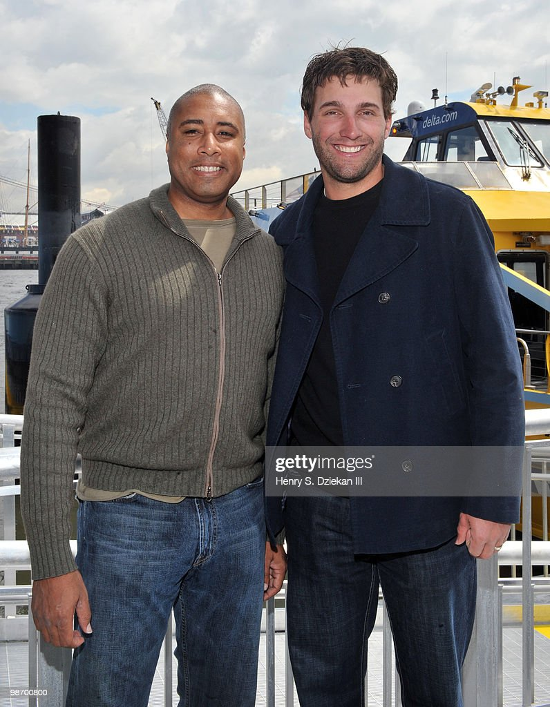 Former New York Yankee <a gi-track='captionPersonalityLinkClicked' href=/galleries/search?phrase=Bernie+Williams&family=editorial&specificpeople=175814 ng-click='$event.stopPropagation()'>Bernie Williams</a> and New York Met <a gi-track='captionPersonalityLinkClicked' href=/galleries/search?phrase=Jeff+Francoeur&family=editorial&specificpeople=217574 ng-click='$event.stopPropagation()'>Jeff Francoeur</a> attend the christening of Delta's Baseball Water Taxis at Pier 11 on April 27, 2010 in New York City.