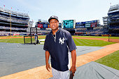 Former New York Yankee Bernie Williams looks on during the teams 67th Old Timers Day prior to a game against the Tampa Bay Rays at Yankee Stadium on...