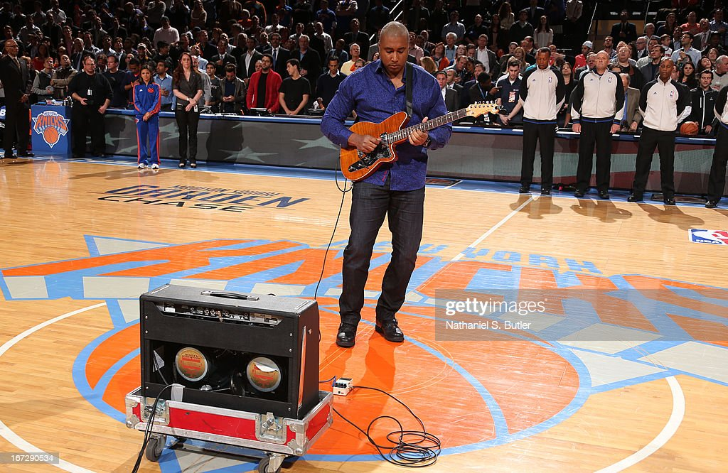 Former New York Yankee Bernie Williams plays the National Anthem before Game Two of the Eastern Conference Quarterfinals between the New York Knicks and the Boston Celtics during the 2013 NBA Playoffs on April 23, 2013 at Madison Square Garden in New York City.