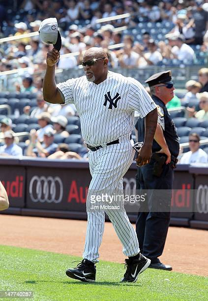 Former New York Yankee Cecil Fielder is introduced during the Yankees 66th Annual Old Timers day before the game against the Chicago White Sox at...