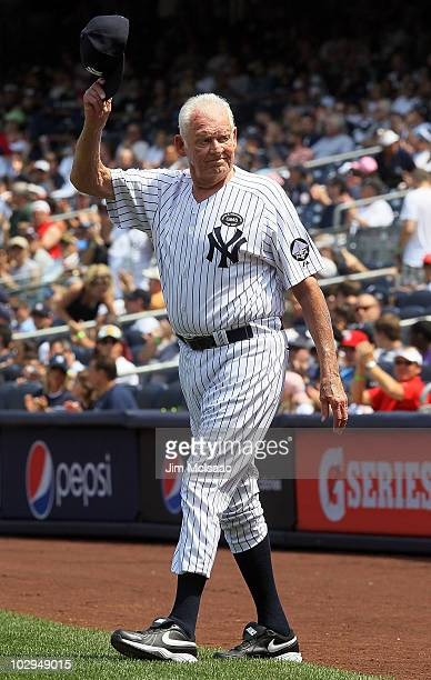 Former New York Yankee Don Larsen is introduced during the teams 64th OldTimer's Day before the MLB game against the Tampa Bay Rays on July 17 2010...