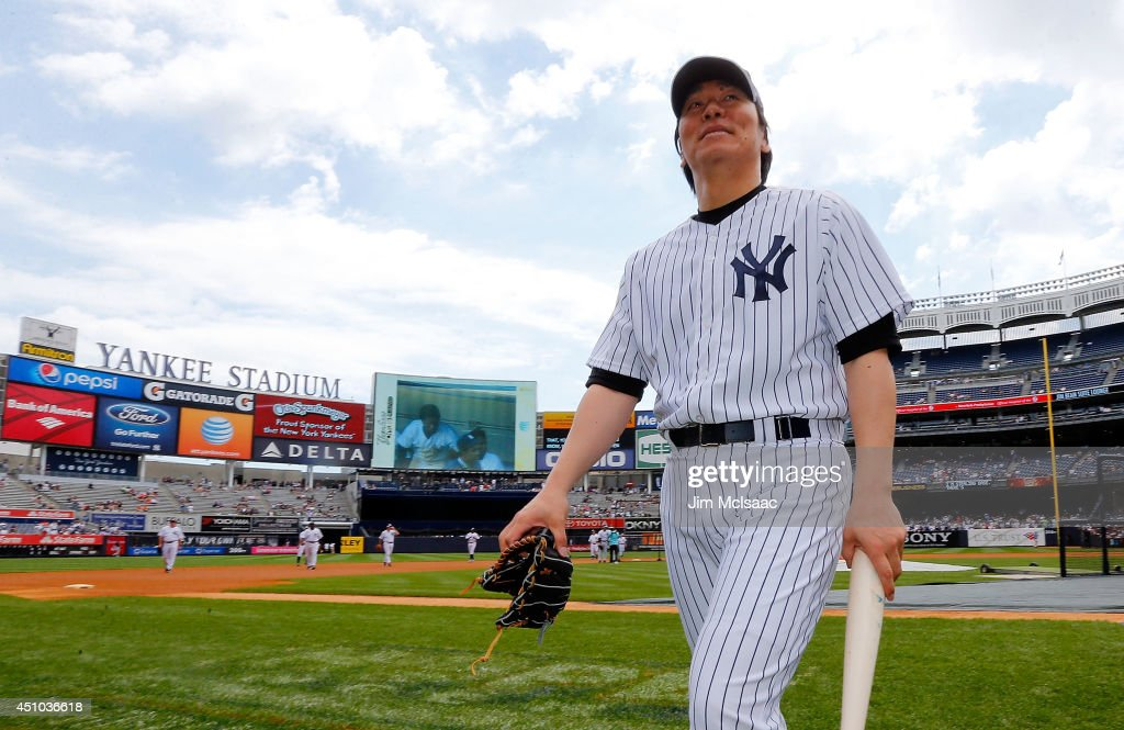 Former New York Yankee <a gi-track='captionPersonalityLinkClicked' href=/galleries/search?phrase=Hideki+Matsui&family=editorial&specificpeople=157483 ng-click='$event.stopPropagation()'>Hideki Matsui</a> looks on prior to the teams 68th Old Timers Day before a game between the New York Yankees and the Baltimore Orioles at Yankee Stadium on June 22, 2014 in the Bronx borough of New York City.