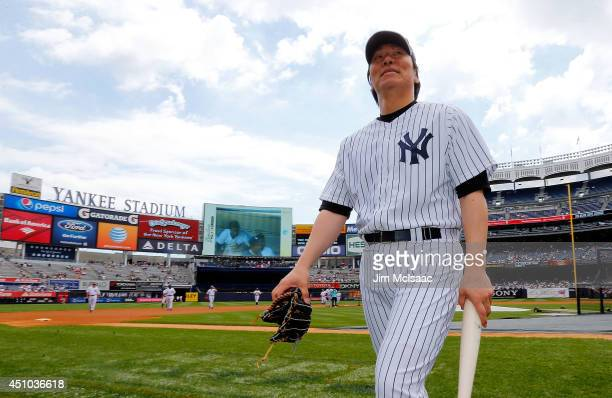 Former New York Yankee Hideki Matsui looks on prior to the teams 68th Old Timers Day before a game between the New York Yankees and the Baltimore...