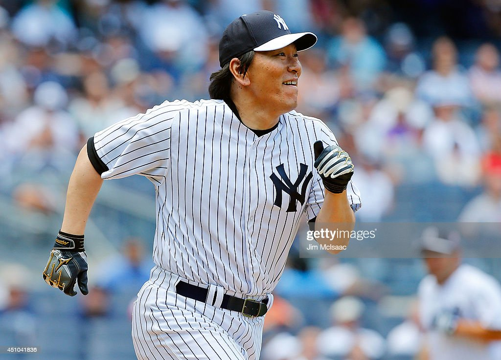Former New York Yankee Hideki Matsui participates during the teams Old Timers Day prior to a game between the New York Yankees and the Baltimore Orioles at Yankee Stadium on June 22, 2014 in the Bronx borough of New York City.