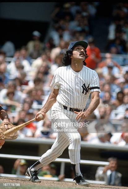 Former New York Yankee Joe Pepitone bats during Old Timers Day before an Major League Baseball game circa 1980 at Yankee Stadium in the Bronx borough...