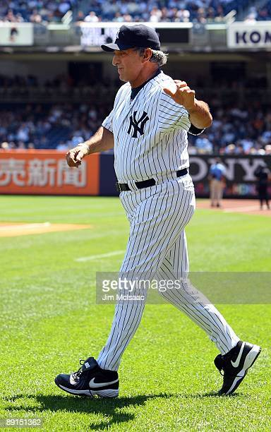 Former New York Yankee Joe Pepitone is introduced during the teams 63rd Old Timers Day before the game against the Detroit Tigers on July 19 2009 at...