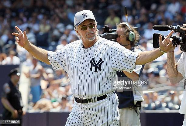 Former New York Yankee Joe Pepitone is introduced during the Yankees 66th Annual Old Timers day before the game against the Chicago White Sox at...