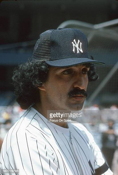 Former New York Yankee Joe Pepitone looks on during Old Timers Day before an Major League Baseball game circa 1980 at Yankee Stadium in the Bronx...