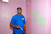 Former New York Yankee player Bernie Williams attends Bernie Williams and Maxwell House unveil a renovated New York Community Center at Mill Brook...