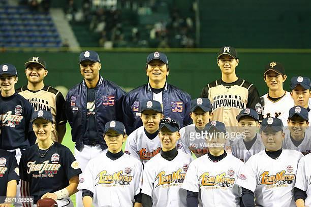 Former New York Yankee players Derek Jeter and Hideki Matsui and Shohei Otani of Hokkaido NipponHam Fighters and Seiji Kobayashi of Yomiuri Giants...