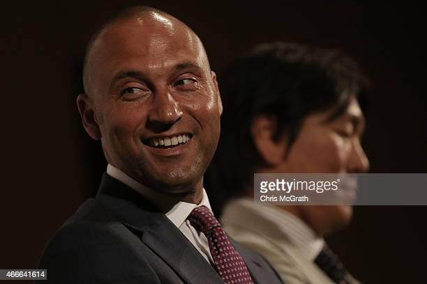 Former New York Yankee players Derek Jeter and Hideki Matsui speak to the media during a press conference about the 'Tomodachi Charity Baseball Game'...