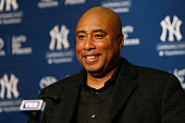 Former New York Yankees Bernie Williams speaks to the media during a press conference to sign a one day contract with the New York Yankees to...