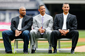 Former New York Yankees from left Bernie Williams Jorge Posada and Andy Pettitte attend a ceremony honoring former manager Joe Torre prior to a game...