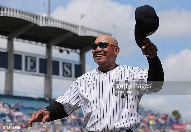 Former New York Yankees HOF Reggie Jackson waves to the crowd prior to the start of the Spring Training Game against the Detroit Tigers on March 2...