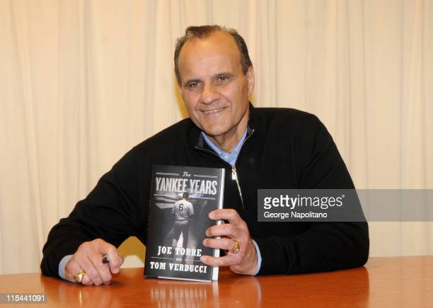 Former New York Yankees manager Joe Torre promotes 'Joe Torre The Yankee Years' at Barnes Noble on Fifth Avenue on February 3 2009 in New York City