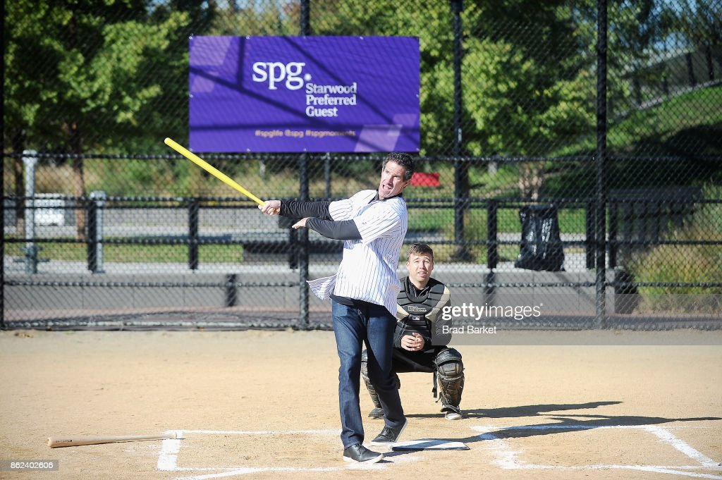 Former New York Yankees MLB baseball player, Paul O'Neill leads the SPG Moments homerun hitting event with a team of kids at Macombs Dam Park on October 17, 2017 in New York City.