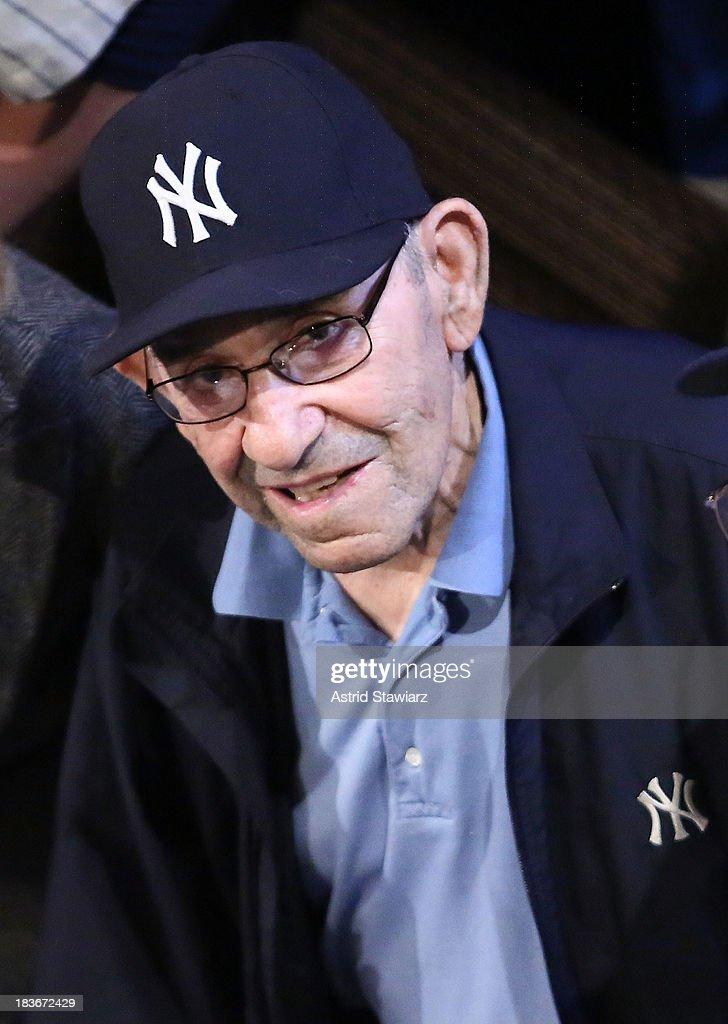 Former New York Yankees player and manager <a gi-track='captionPersonalityLinkClicked' href=/galleries/search?phrase=Yogi+Berra&family=editorial&specificpeople=94270 ng-click='$event.stopPropagation()'>Yogi Berra</a> attends 'Bronx Bombers' Opening Night Curtain Call at Primary Stages on October 8, 2013 in New York City.