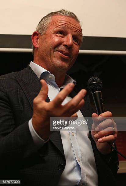 Former New Zealand captain Sean Fitzpatrick talks during An Evening with Nick Evans and Sean Fitzpatrick at the Alexandra Clapham Common on October...