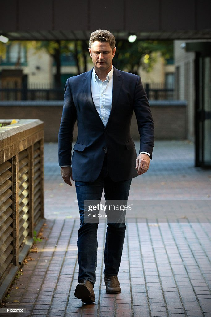 Former New Zealand cricketer Chris Cairns leaves Southwark Crown Court for lunch on October 26, 2015 in London, England. Mr Cairns is currently on trial on charges of perjury and perverting the course of justice while his barrister Andrew Fitch-Holland denies one count of the criminal offence of preventing justice from being served.