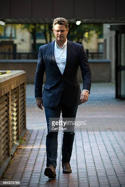 Former New Zealand cricketer Chris Cairns leaves Southwark Crown Court for lunch on October 26 2015 in London England Mr Cairns is currently on trial...