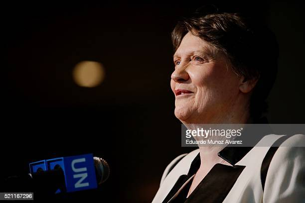 Former New Zealand Prime Minister Helen Clark speaks after a meeting as a candidate for United Nations secretarygeneral on April 14 2016 in New York...