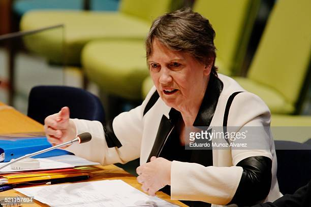 Former New Zealand Prime Minister Helen Clark speaks during a series of meetings with candidates vying for the position of United Nations...