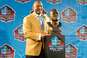 Former NFL cornerback/safety Aeneas Williams with his bust during the NFL Class of 2014 Pro Football Hall of Fame Enshrinement Ceremony at Fawcett...