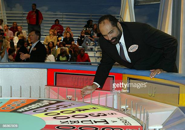 Former NFL great Franco Harris of the Pittsburgh Steelers takes a practice spin on the wheel during rehearsal of the NFL Players Week 10th...