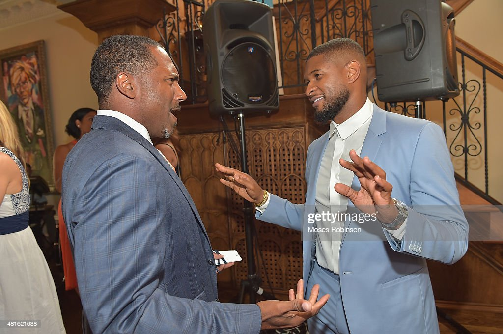 Former NFL Player Allen Rossum and recording artist Usher Raymond attend Ushers New Look United to Ignite Awards Exclusive VIP Receptionon July 22, 2015 in Atlanta, Georgia.