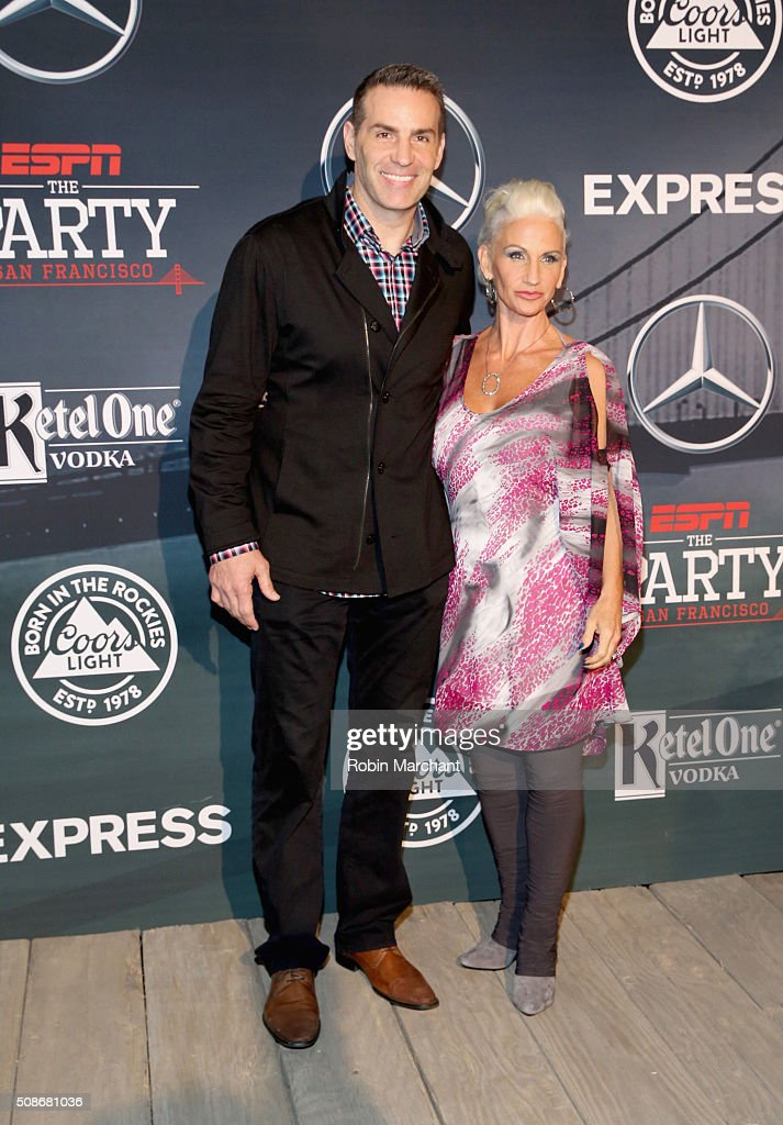 Former NFL player and tv personality Kurt Warner and Brenda Warner attend ESPN The Party on February 5 2016 in San Francisco California
