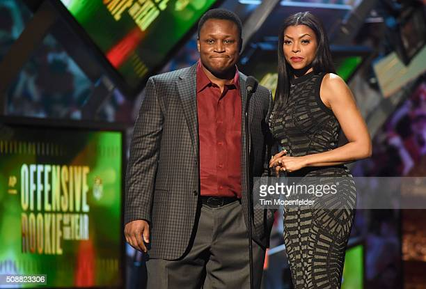 Former NFL player Barry Sanders and actress Taraji P Henson speak onstage during the 5th Annual NFL Honors at Bill Graham Civic Auditorium on...