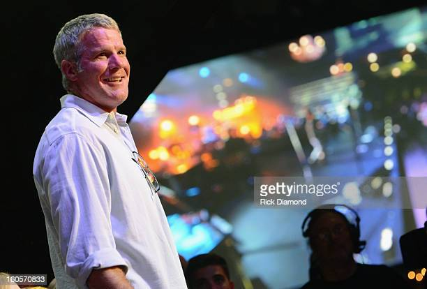 Former NFL player Brett Favre attends Journey and Rascal Flatts headline the Super Bowl XLVII CMT Crossroads Concert on February 2 2013 in New...