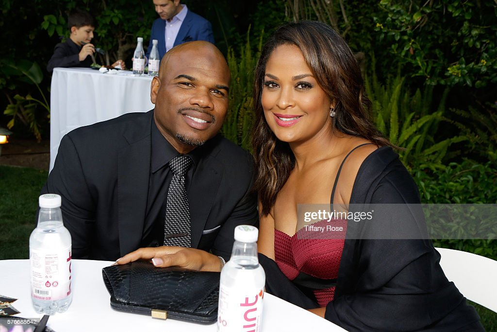 Former NFL player Curtis Conway and former professional boxer Laila Ali attend HollyRod Foundation's DesignCare Gala on July 16 2016 in Pacific...