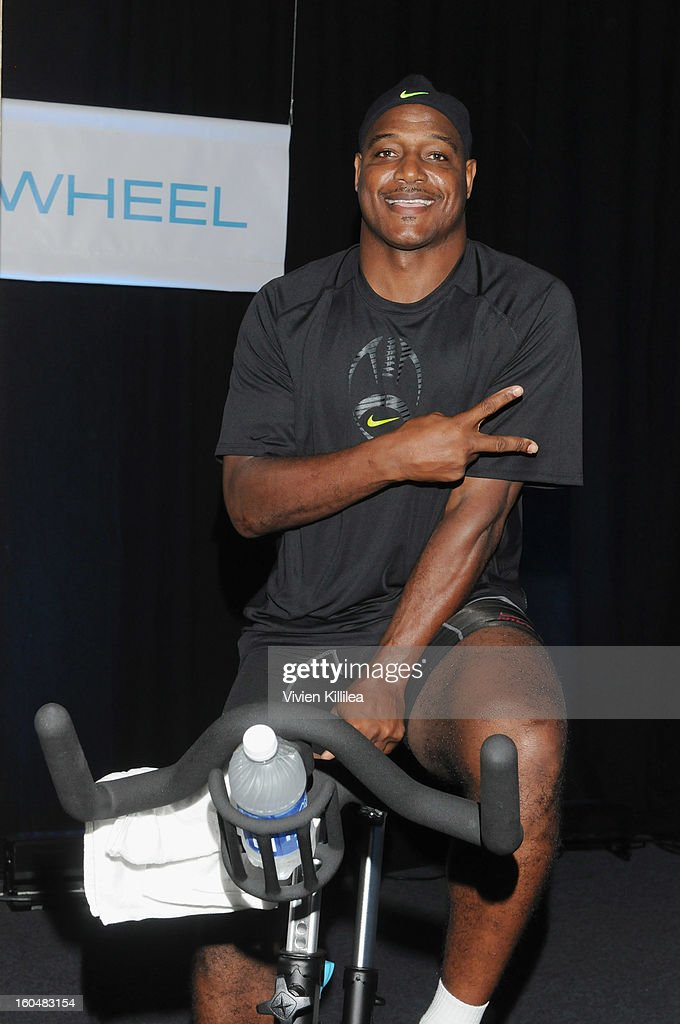 Former NFL player <a gi-track='captionPersonalityLinkClicked' href=/galleries/search?phrase=Derrick+Brooks&family=editorial&specificpeople=209033 ng-click='$event.stopPropagation()'>Derrick Brooks</a> attends The Flywheel Challenge at the NFL House hosted by Shannon Sharpe at The Chicory on February 1, 2013 in New Orleans, Louisiana.