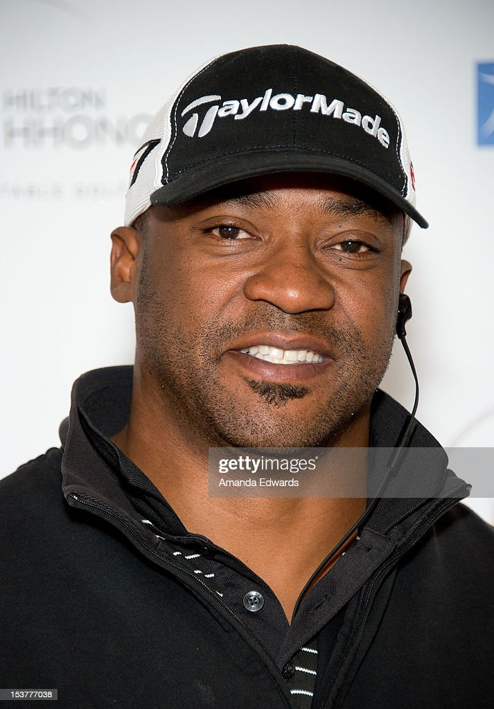 Former NFL player Derrick Mayes arrives at the 6th Annual Hilton HHonors Charitable Golf Series at The Riviera Country Club on October 8, 2012 in Pacific Palisades, California.