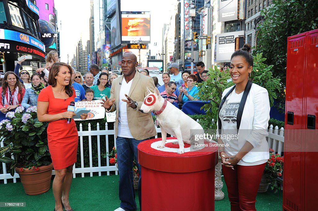 AMERICA - Former NFL player Donald Driver and Bullseye, the official mascot of Target, appear on 'Good Morning America,' 8/13/13, airing on the ABC Television Network. GINGER