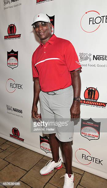 Former NFL player Eric Dickerson attends the Eric Dickerson Hall Of Fame Golf Invitational on July 24 2014 at Moorpark Country Club in Moorpark...