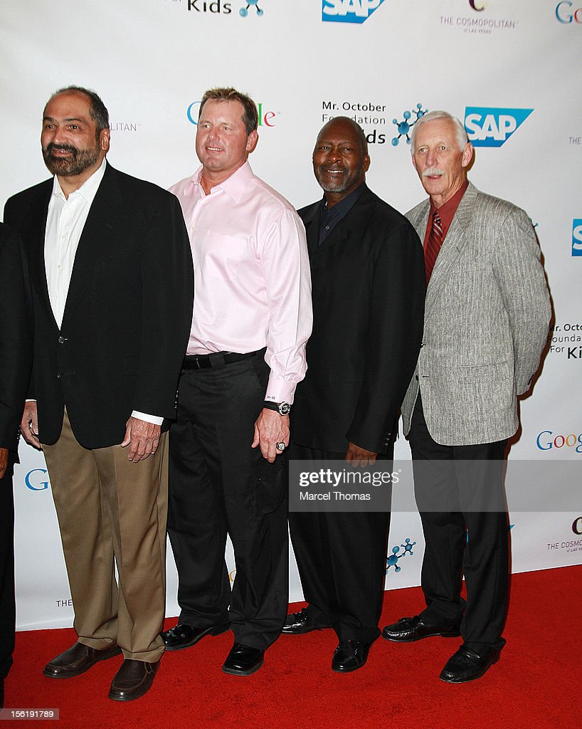 Former NFL player Franco Harris former MLB pitchers Roger Clemens Dave Stewart and playerJoe Rudi attend the 8th All Star Celebrity Classic...