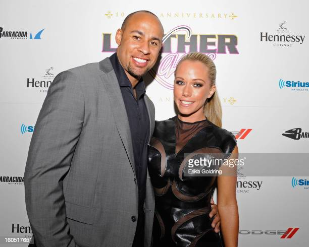 Former NFL player Hank Baskett and wife Kendra Wilkinson attend the Tenth Annual Leather Laces Super Bowl Party on February 1 2013 in New Orleans...
