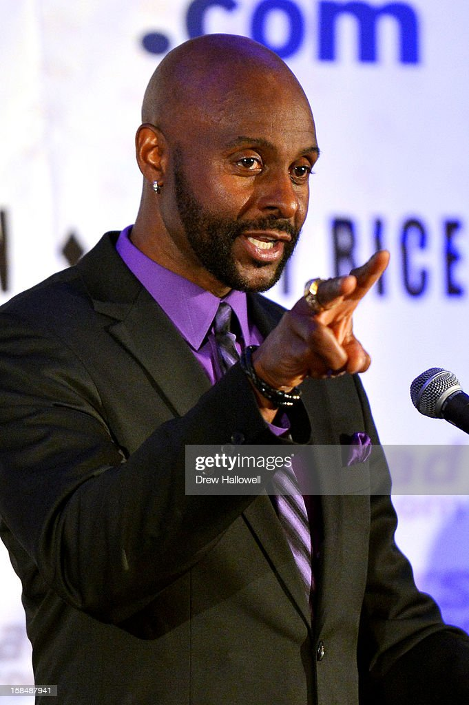 Former NFL player <a gi-track='captionPersonalityLinkClicked' href=/galleries/search?phrase=Jerry+Rice&family=editorial&specificpeople=184559 ng-click='$event.stopPropagation()'>Jerry Rice</a> speaks during the Sports Network's 26th Annual FCS Awards Presentation at the Sheraton Society Hill on December 17, 2012 in Philadelphia, Pennsylvania.
