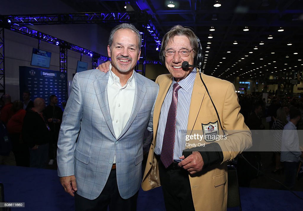 Former NFL player <a gi-track='captionPersonalityLinkClicked' href=/galleries/search?phrase=Joe+Namath&family=editorial&specificpeople=91230 ng-click='$event.stopPropagation()'>Joe Namath</a> (R) and <a gi-track='captionPersonalityLinkClicked' href=/galleries/search?phrase=Chuck+Pagano&family=editorial&specificpeople=748923 ng-click='$event.stopPropagation()'>Chuck Pagano</a>, Indianapolis Colts coach, visits the SiriusXM set at Super Bowl 50 Radio Row at the Moscone Center on February 5, 2016 in San Francisco, California.