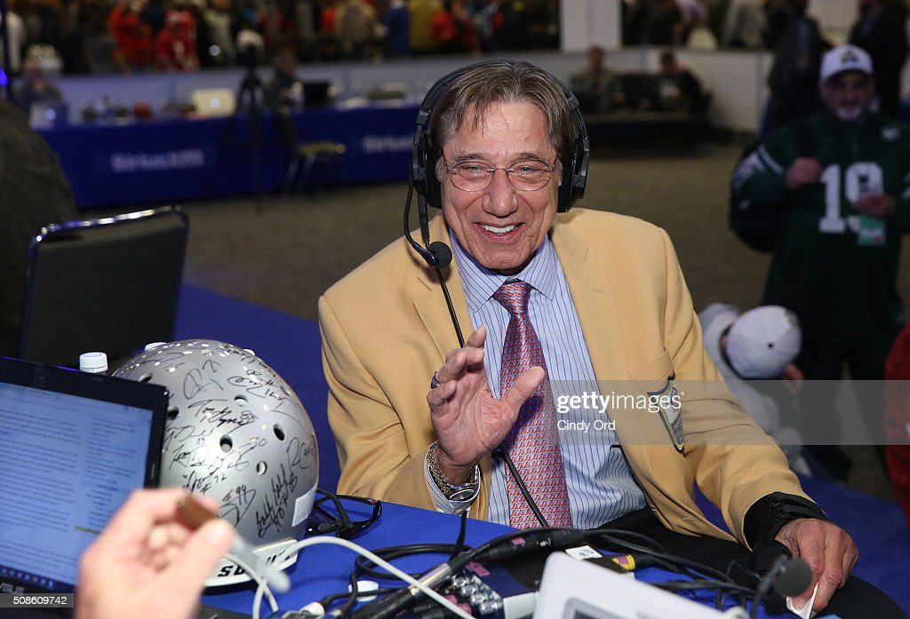 Former NFL player <a gi-track='captionPersonalityLinkClicked' href=/galleries/search?phrase=Joe+Namath&family=editorial&specificpeople=91230 ng-click='$event.stopPropagation()'>Joe Namath</a> visits the SiriusXM set at Super Bowl 50 Radio Row at the Moscone Center on February 5, 2016 in San Francisco, California.