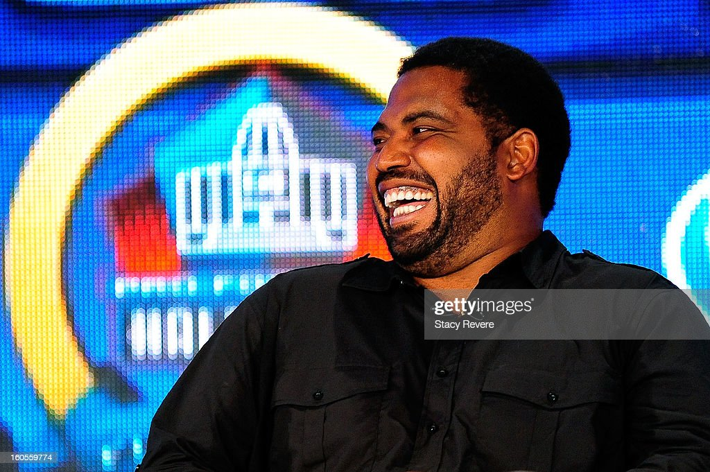 Former NFL player <a gi-track='captionPersonalityLinkClicked' href=/galleries/search?phrase=Jonathan+Ogden&family=editorial&specificpeople=216522 ng-click='$event.stopPropagation()'>Jonathan Ogden</a> enjoys a light moment after being elected into the Pro Football Hall of Fame during the Pro Football Hall of Fame Press Conference at the New Orleans Convention Center on February 2, 2013 in New Orleans, Louisiana.