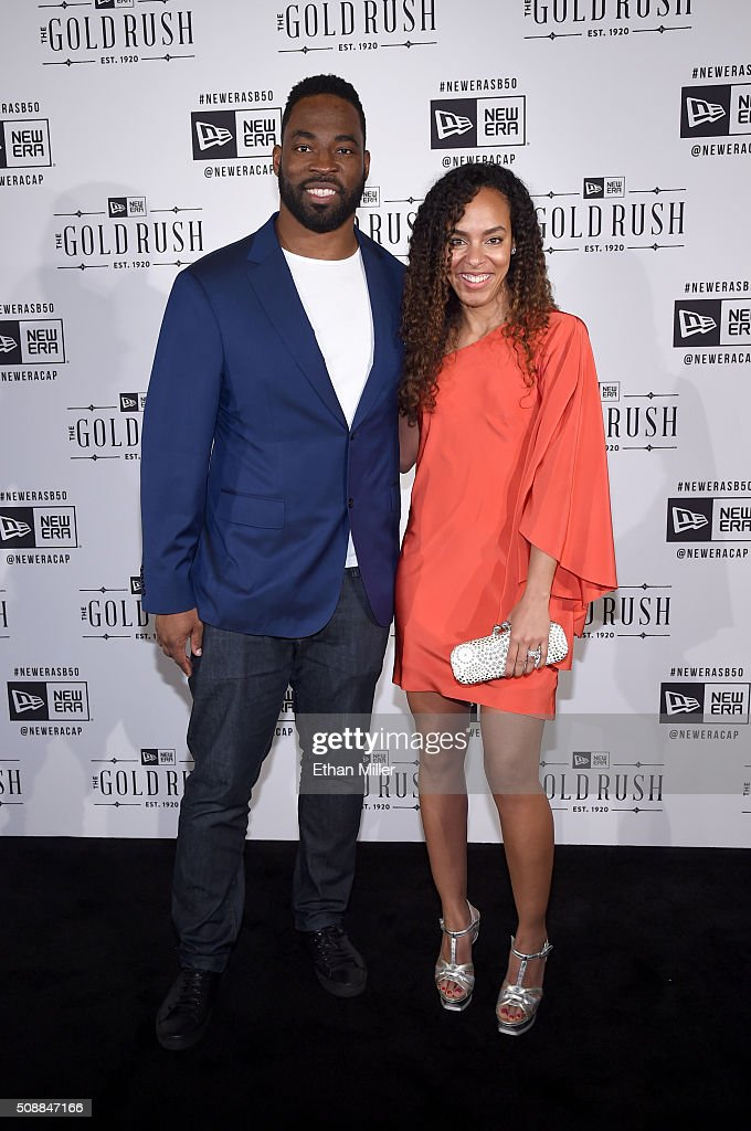 Former NFL player Justin Tuck (L) and Lauran Tuck attend the New Era Super Bowl party at The Battery on February 6, 2016 in San Francisco, California.